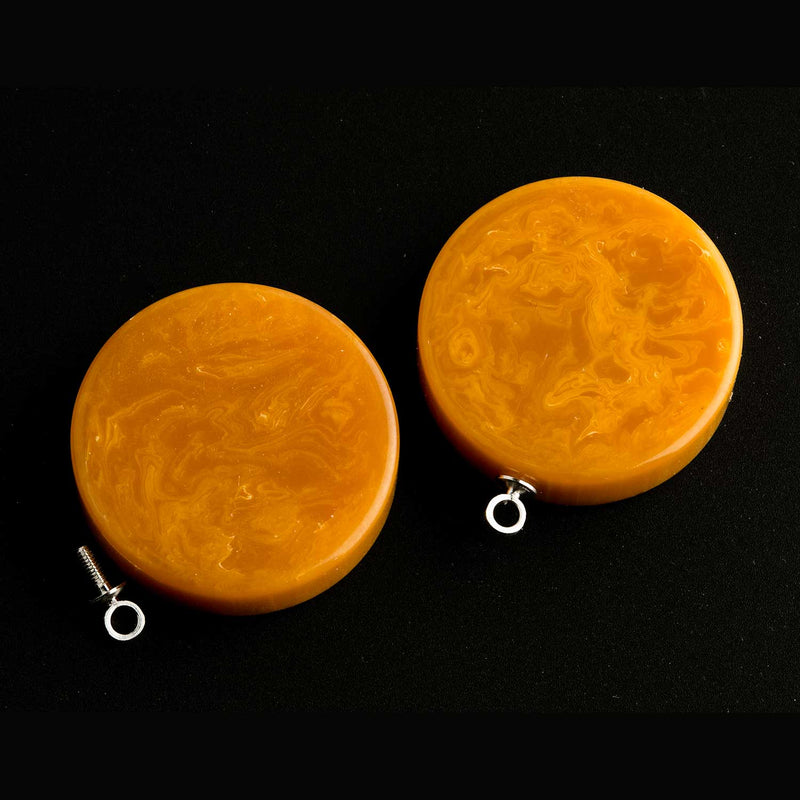 Vintage butterscotch Bakelite disk / pendant with ring. 22x6mm Pkg of 2. b6-141(e)