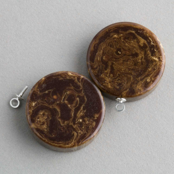Vintage brown marbled Bakelite disk / pendant with ring. 22x6mm Pkg of 2. b6-143(e)