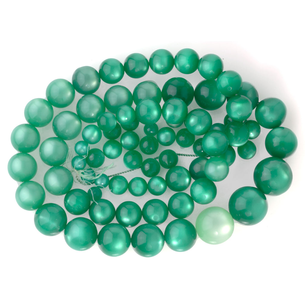 Vintage teal Lucite Moonglow graduated strand +matching loose beads. b6-229(e)