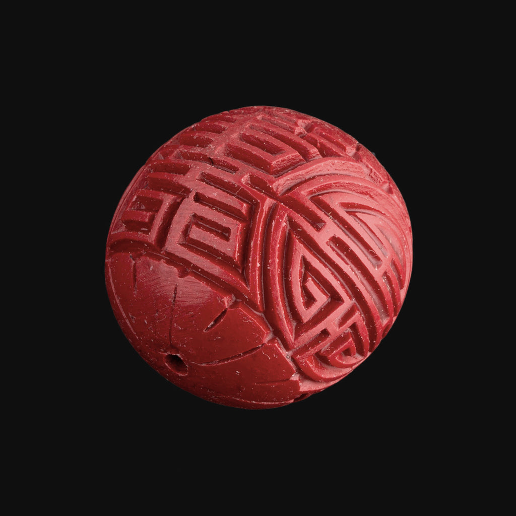 Large carved 30mm cinnabar round bead, pkg of 1. B7-CIN018