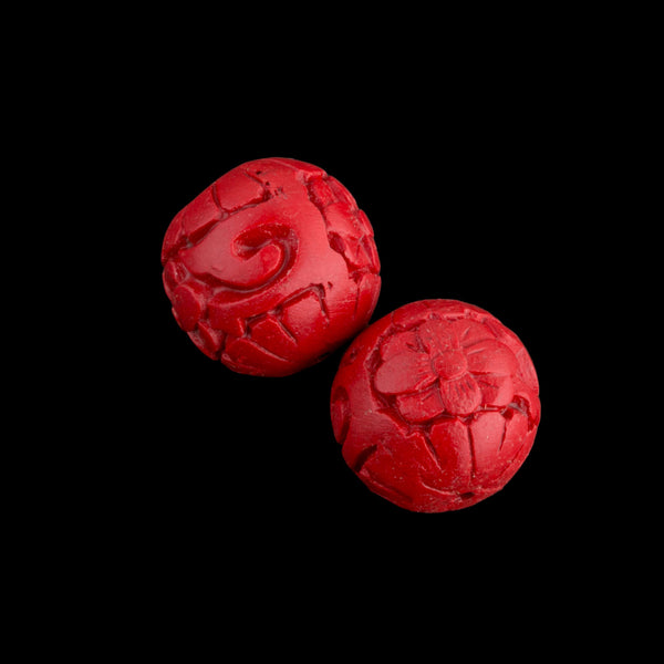 B7-CIN019 Carved cinnabar lacquer rounds. 15mm. Pkg of 2