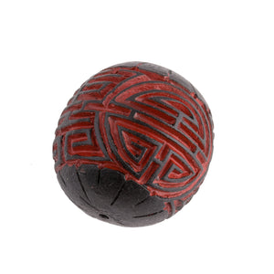 Large carved black over red cinnabar round. 30mm. Pkg of 1. B7-CIN103