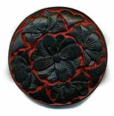 Carved black over red cinnabar disk. 34mm. Pkg of 1. B7-CIN106(e)