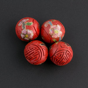b7-cin210-Carved cinnabar rounds with inlaid cloisonne floral design . 14-15mm. Pkg of 2