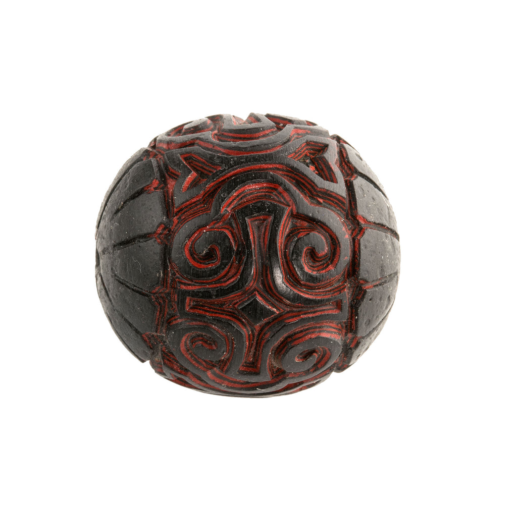 Very rare old Chinese deep carved black and red cinnabar genuine lacquer beads 30mm. b7-cin231