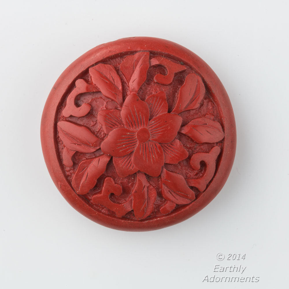 Vintage rare deep carved red cinnabar disk bead 34x12mm. b7-cin233(e)