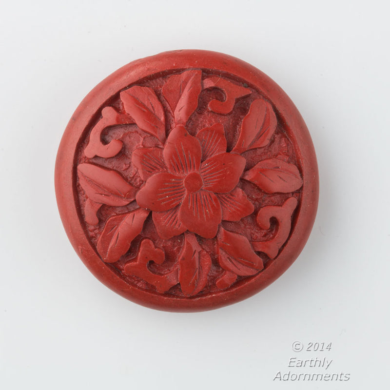 Vintage deep carved red cinnabar disk bead 34x11mm. b7-cin233