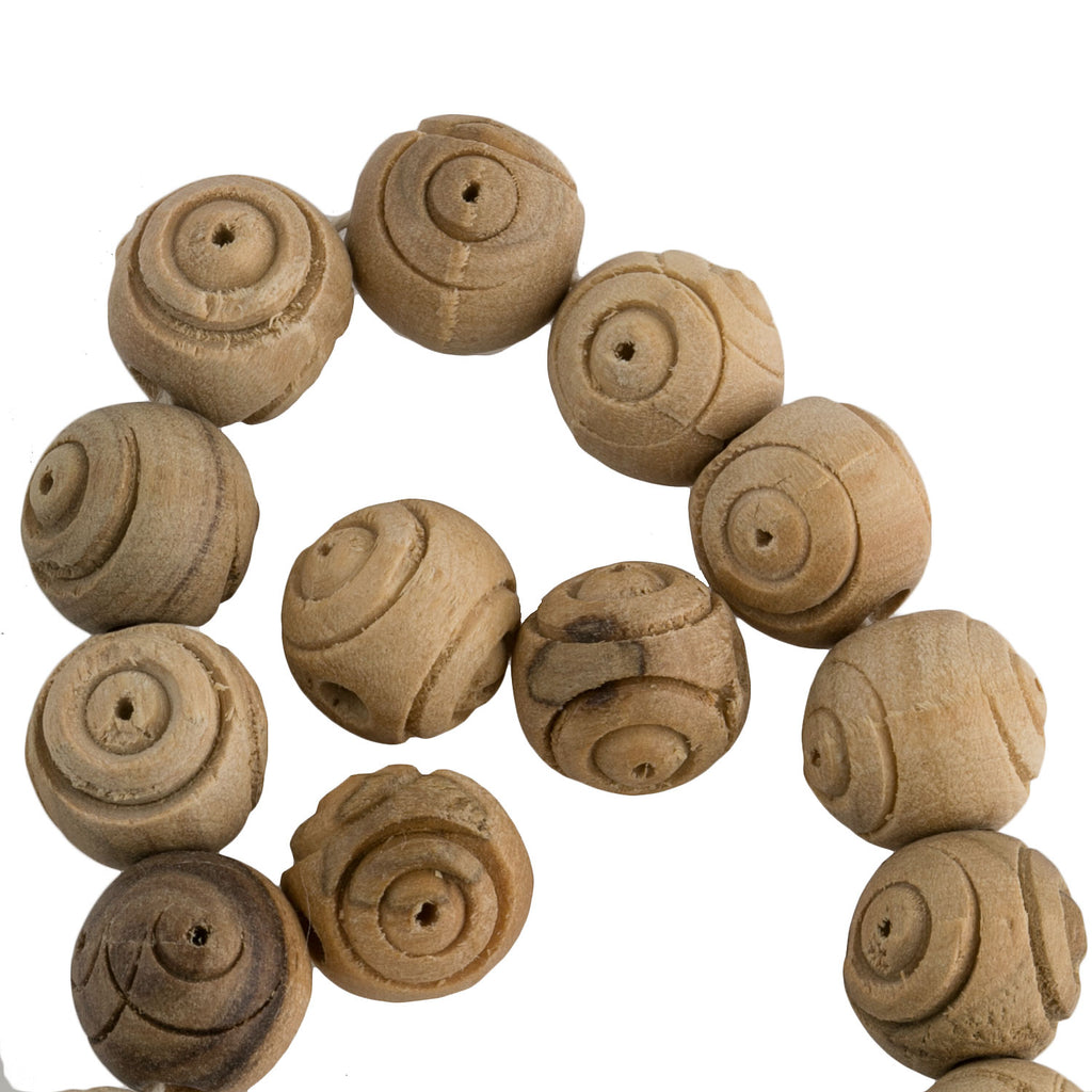 Vintage carved olive wood beads. 10mm. Pkg of 8. B7-WO012-1(e)