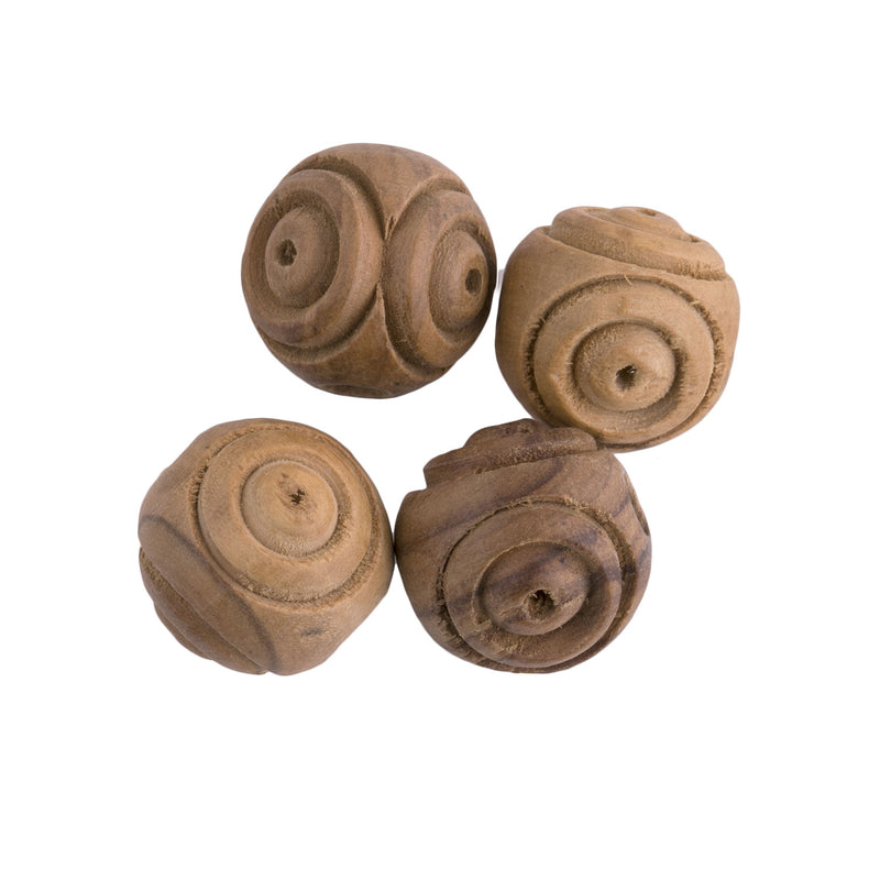 Vintage carved olive wood beads. 18mm. Pkg of 4. B7-WO012-2(e)