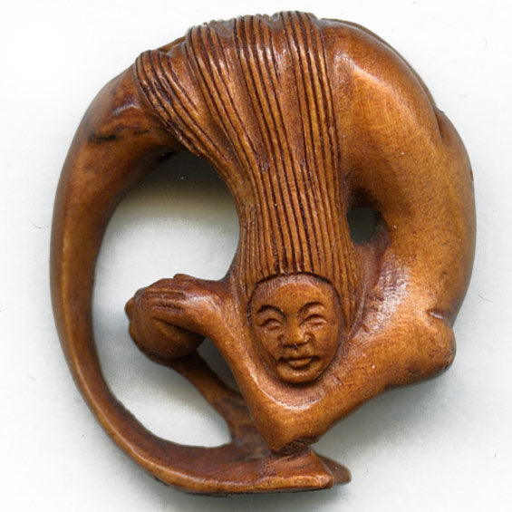 Mermaid boxwood Ojime. 25x8mm, sold individually. b7-wo246(e)