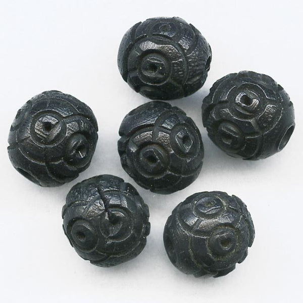 Antique French carved Corozzo beads 6mm pkg of 15. b7-wo248(e)