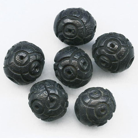 Antique French carved black Corozzo Tagua Palm beads. 8mm pkg of 10 b7-wo247(e)