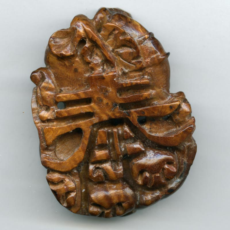 b7-wo255-Vintage hardwood carved pendant of ram and ewes
