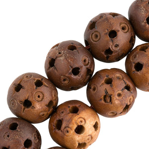 Chinese hollow carved and pierced wood beads, traditional Cantonese design, 12mm Pkg of 6. b7-wo260
