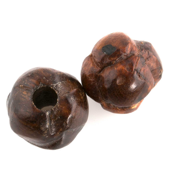 Chinese carved knots of Ma-Li wood. 12mm pkg of 2. B7-WO322(e)