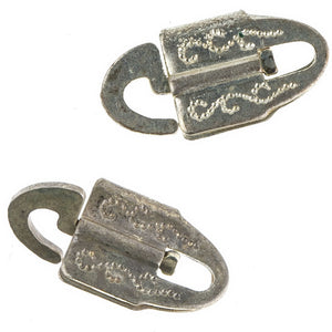Ornate vintage stamped silver over copper clasps. 15mm. Sold individually. b8-0161