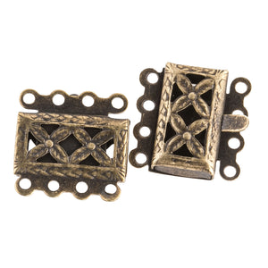 Vintage, Oxidized Brass Floral Motif 4 Strand Push In Box Clasp. 18mm. Sold Individually.  b8-0215