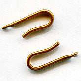 Simple red brass wire hooks. 15mm from hole to top of curve. Pkg. of 10. B8-0217