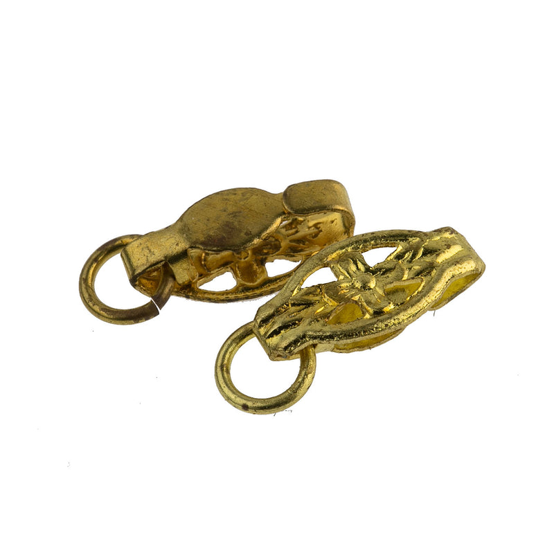 Vintage gold plated clasp. 12x6mm pkg of 4. b8-0189