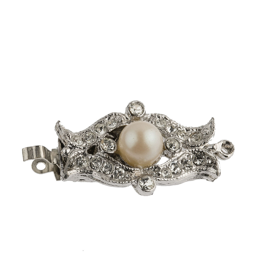 Rhodium plated metal, crystal and glass pearl push in clasp. 27x12mm.  B8-0191