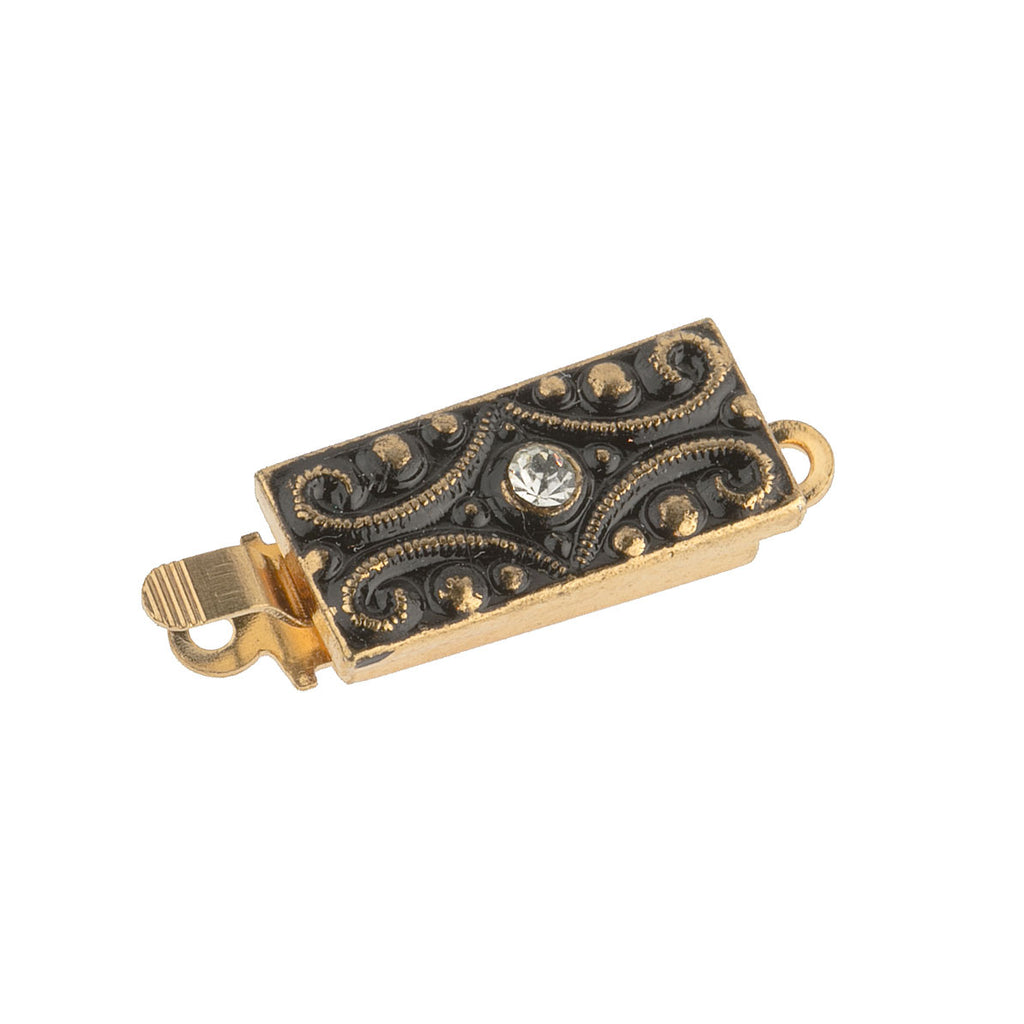 b8-0192-Goldtone & black enamel 1-row clasp. 15x16mm. Pkg of 1