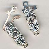 b8-0199-Single strand clasp, silver finish w/ Swarovski crystal. 20mm long. Pkg of 1