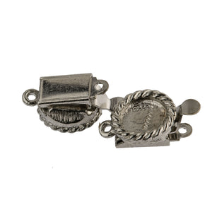 Vintage silver metal single strand box clasp w/ setting for 7mm stone, pkg of 2. b8-0206