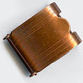 b8-0211-Vintage copper over steel fold over clasp. 12x15mm. Pkg of 2