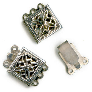 Vintage silver metal filigree 3 strand box clasp 8mm pkg of 2. b8-234(e)