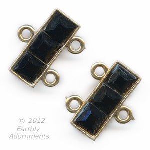 b8-241-1-Vintage gold metal 2 strand clasp with black glass stones 12mm wide pkg of 1