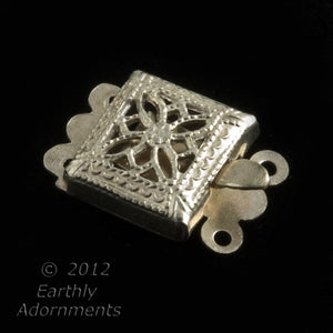 Vintage sterling silver filigree 2-strand clasp 9 x 13mm. 1 pc.