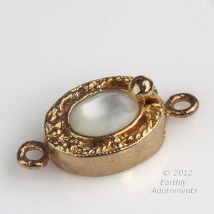 Vintage gold-wash sterling silver vermeil oval box clasp with