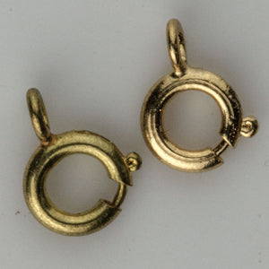b8-336(e)- Raw brass 10mm round spring ring clasps. Package of 15.