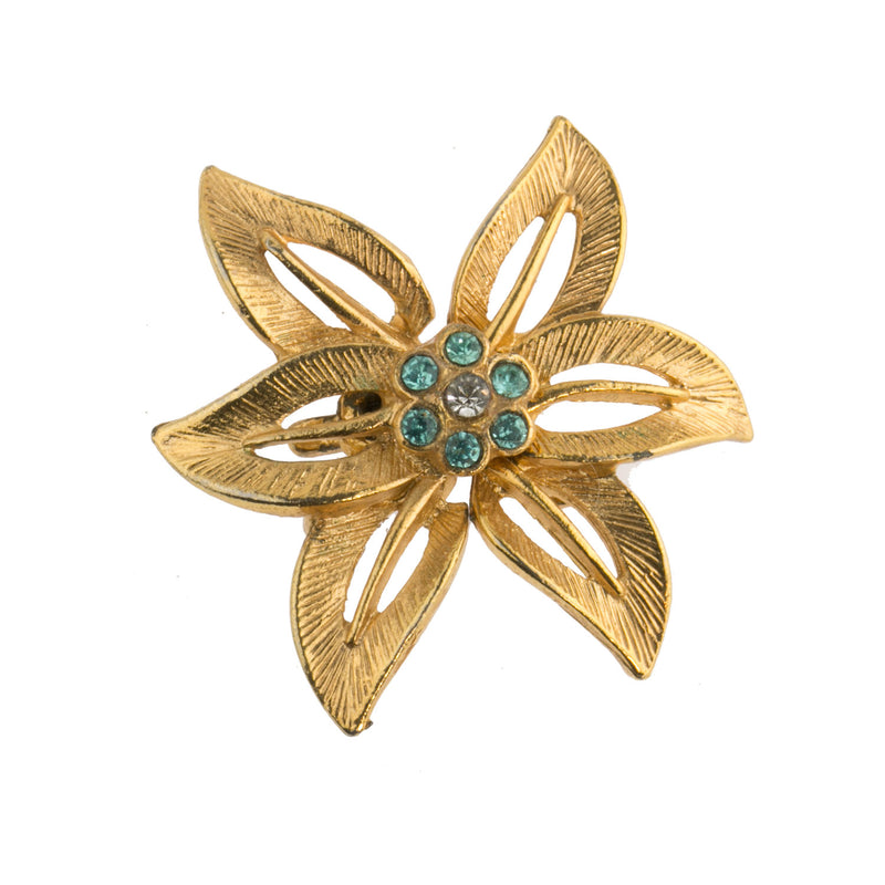 1960s gold metal 2-strand 6 petal flower hook clasp with turquoise blue rhinestones. 37mm. b8-365