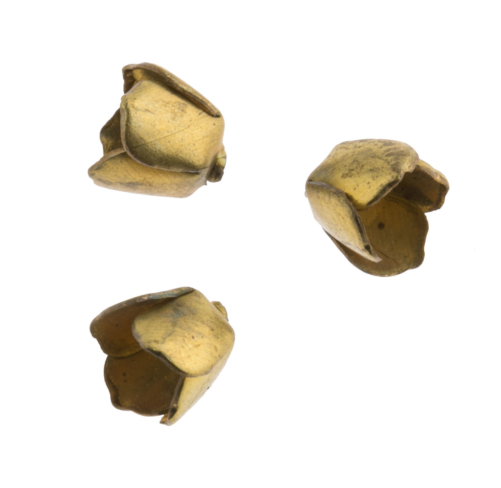 b9-0805-Vintage brass 4 petal adjustable bead cap for a 5-8mm bead. Pkg. of 10