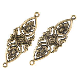 Stamped brass floral openwork connector. 35x12mm Pkg of 2. B9-0827(e)