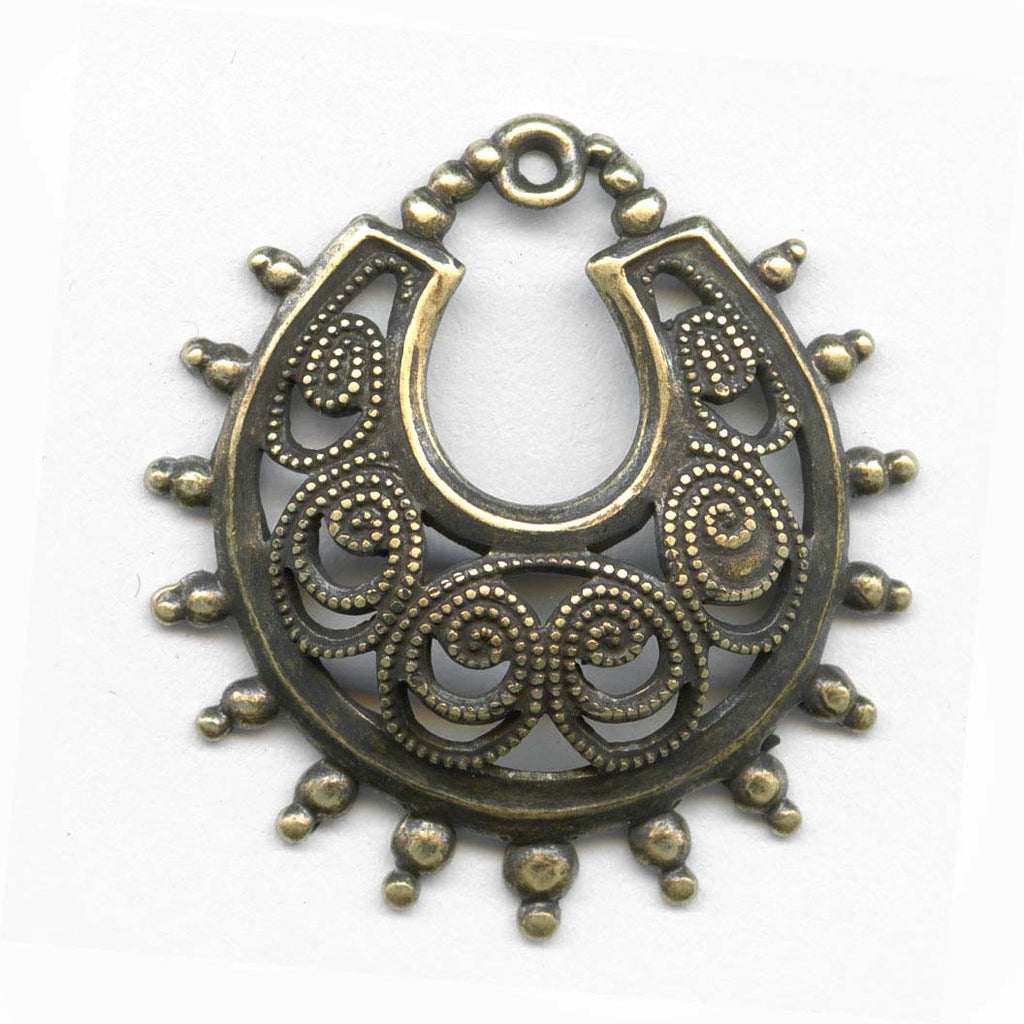 Oxidized yellow brass filigree from Germany 25x23mm 2 pcs. B9-2062(e)