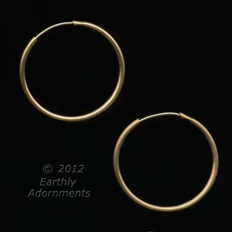 Yellow brass earring hoops. 20mm. 1 pair. B9-2170