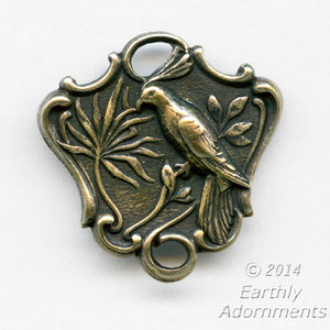Oxidized brass 2 ring connector depicting a bird on a branch. Pkg. of 2. B9-2301