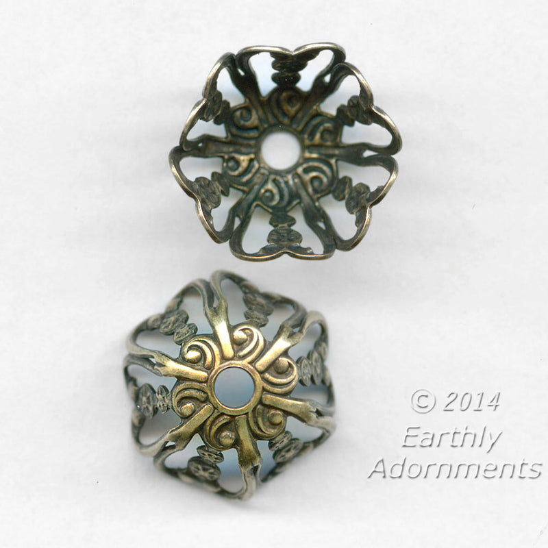 Oxidized brass filigree bead cap. 10x11mm. Pkg. of 4. B9-2303(e)