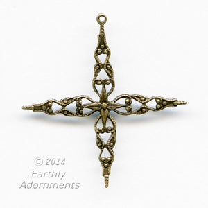 Oxidized brass 4 point stamped filigree with ring for wrapping. Pkg of 2. b9-2307