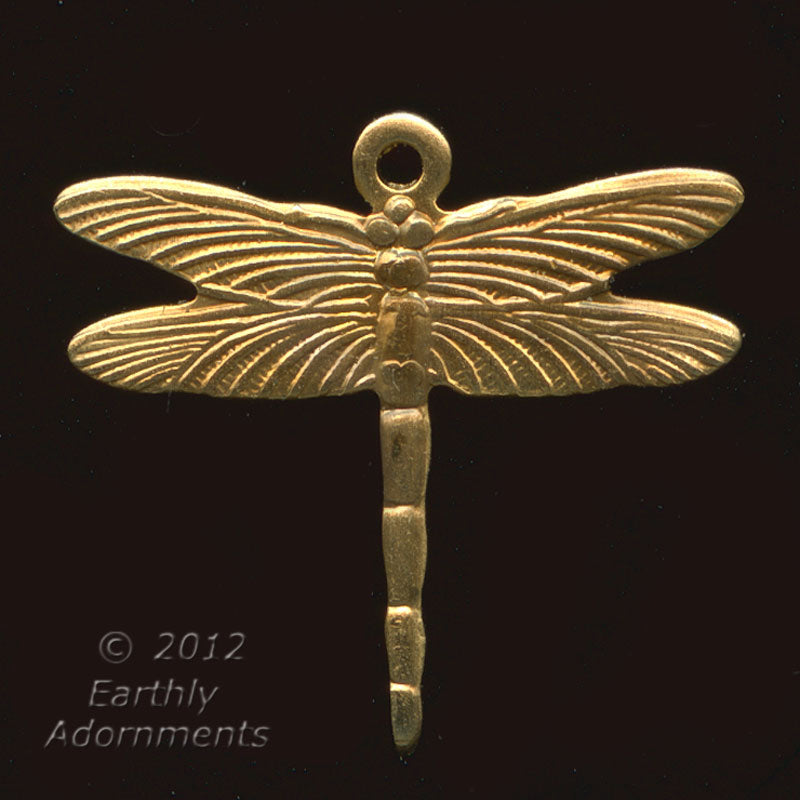 B9-0316 Brass dragonfly charm. 16x18mm Pkg of 4