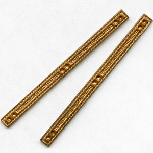 b9-0932-Vintage copper stamped narrow component with setting for tiny stones pkg of 2