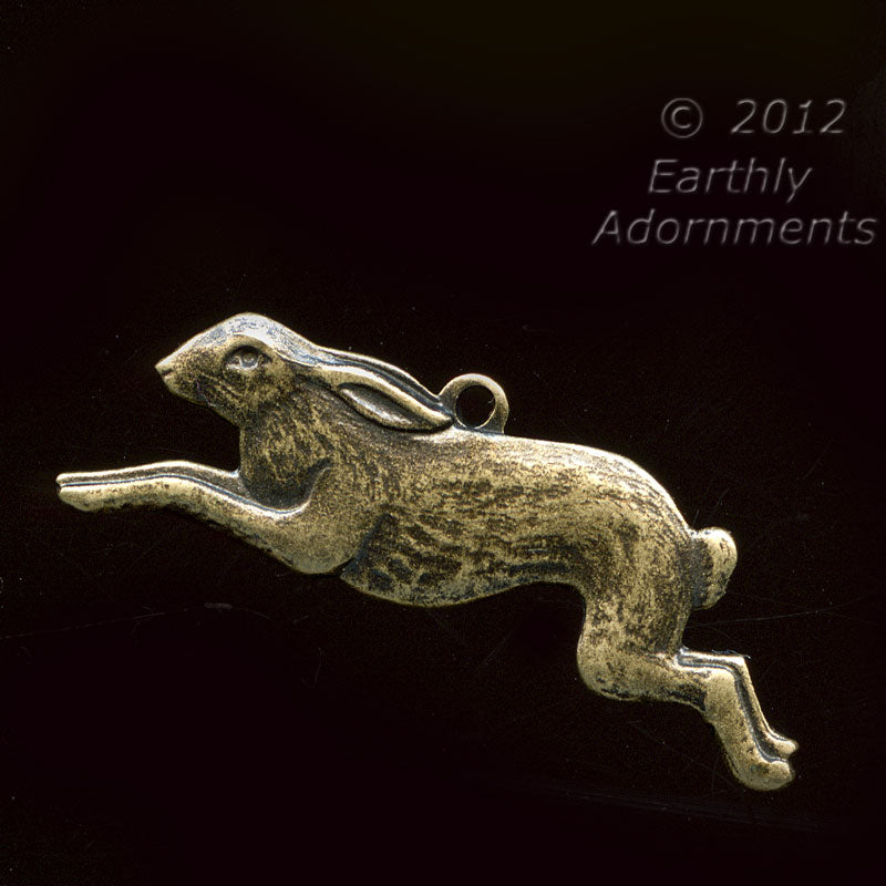 Oxidized brass bunny charm. 10x25mm, Pkg of 2. b9-0462(e)