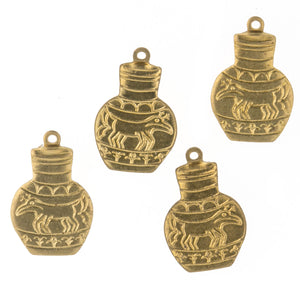 Brass urn charm. 10x15mm Pkg of 4. b9-0464(e)