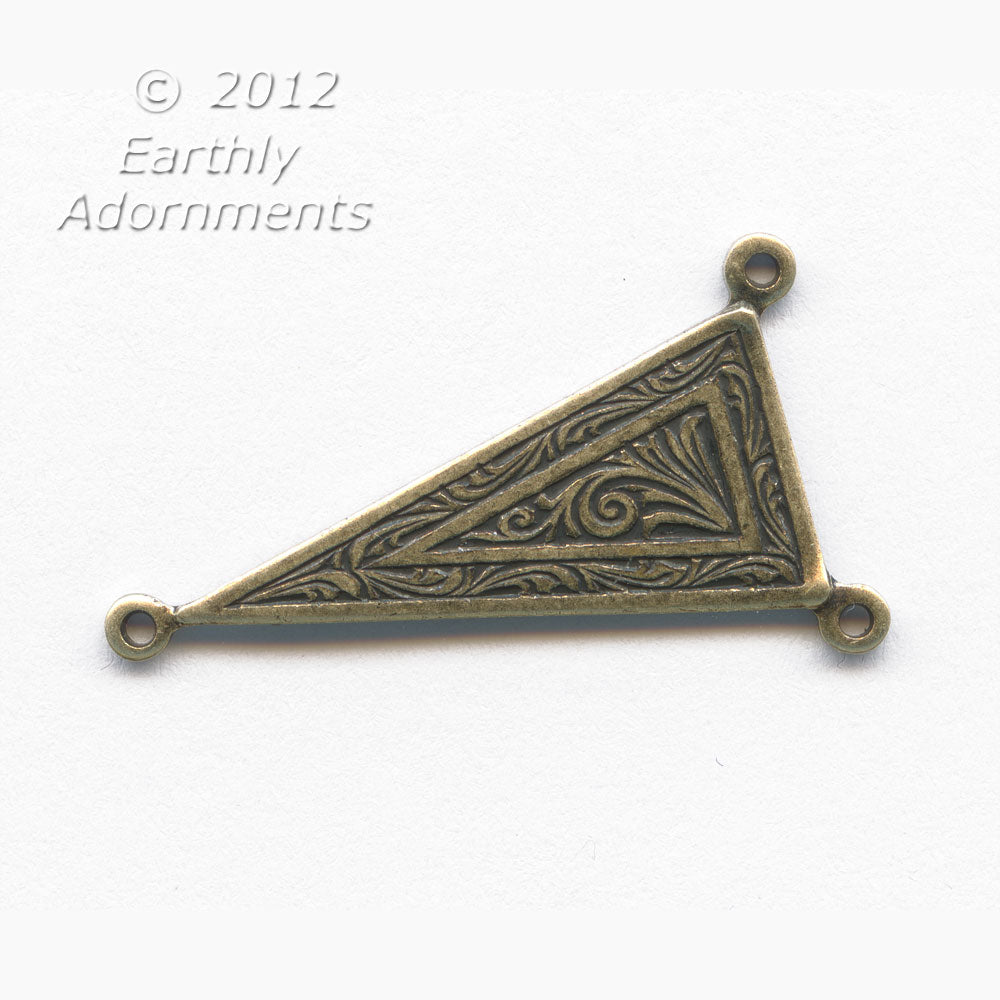 Art Deco style oxidized brass triangle 3 ring connector. 12x25mm Pkg of 4. B9-0478