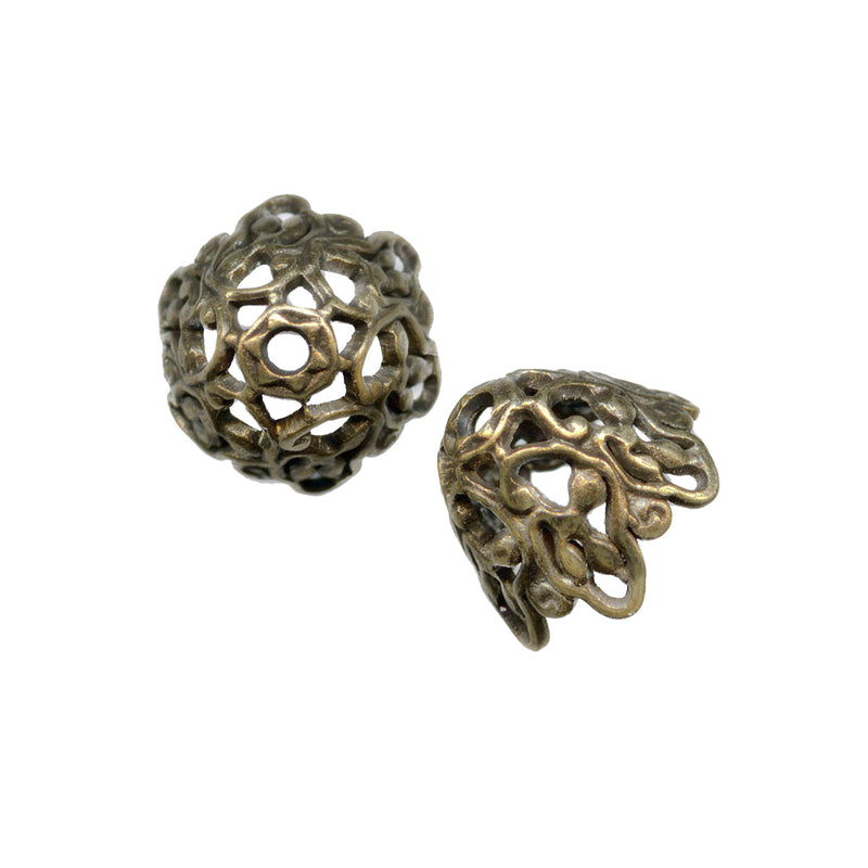 Stamped oxidized brass filigree bead cap. 7mm diameter x9mm Pkg.of 4. B9-0481(e)