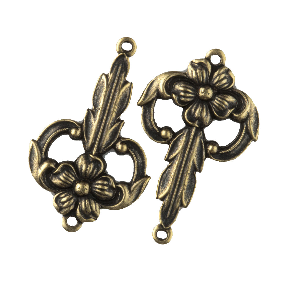 Oxidized brass flower and leaf stamped brass 2 ring connector. 15x25mm Pkg. of 4. B9-0482