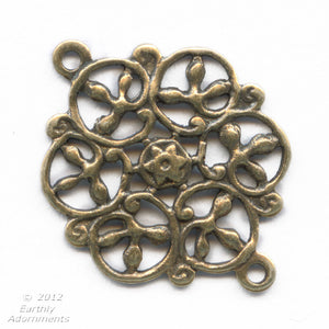 Oxidized brass stamped filigree 2 ring connector. 13mm. Pkg. of 4. b9-0483(e)