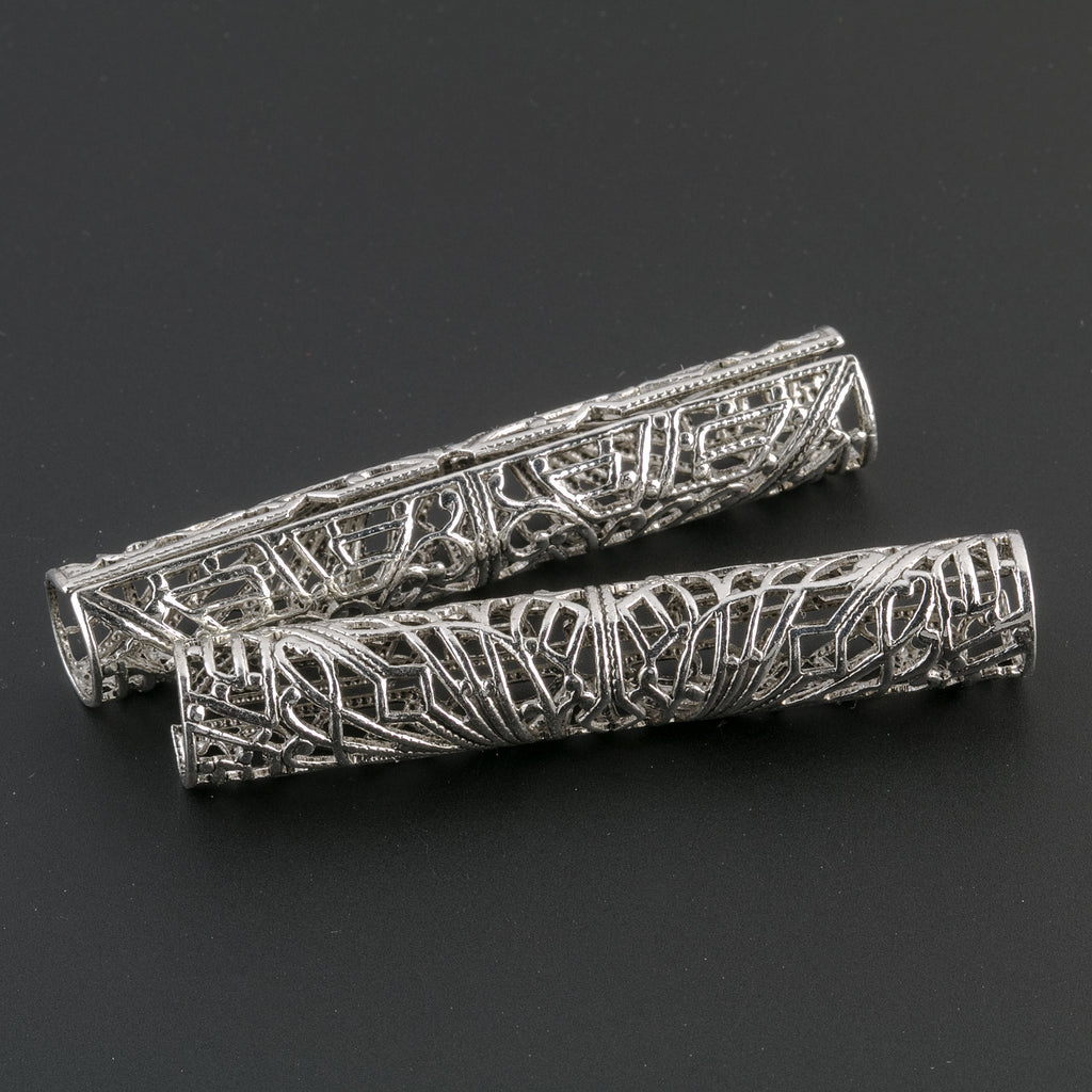 Long sterling silver plated brass Filigree Tube Connector. 52x8mm. 1 pc. b9-0489-s